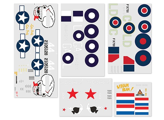 Decal Set for  Durafly Curtiss P-40N Warhawk