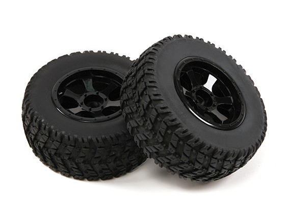 1/10th Scale 6 Spoke Black Short Course Truck Wheels & Tyres (2pc)