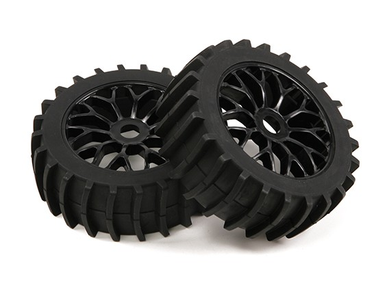 1/8 Scale Black Multi Spoke Wheels With Paddle Style Tyres (2pc)