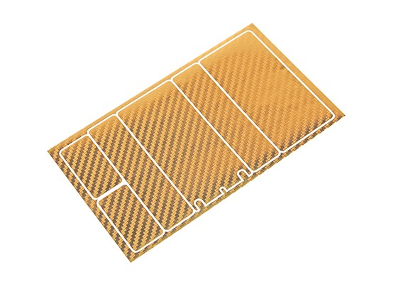 TrackStar Decorative Battery Cover Panels for 2S Shorty Pack Gold Carbon Pattern (1 Pc)