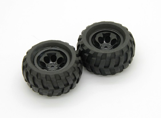 Pre-Glued Tire and Wheel Assembly (2pcs) - Basher RockSta 1/24 4WS Mini Rock Crawler