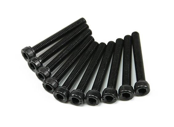 Screw Socket Head Hex M3x28mm Machine Thread Steel Black (10pcs)