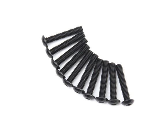 Screw Button Head Hex M4 x 22mm Machine Steel Black (10pcs)
