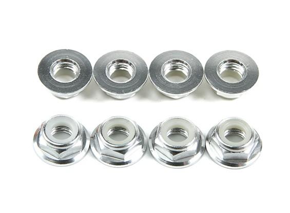 Aluminum Flange Low Profile Nyloc Nut M5 Silver (CCW) 8pcs