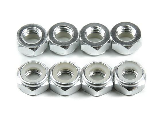 Aluminum Low Profile Nyloc Nut M5 Silver (CW) 8pcs