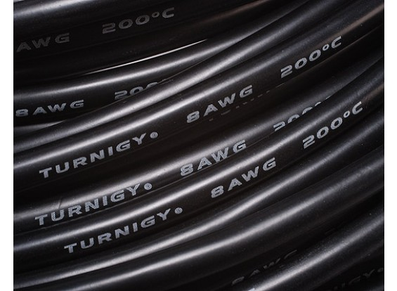Turnigy Pure-Silicone Wire 8AWG 1m (Black)