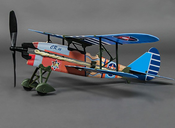 Rubber Band Powered Freeflight Fiat CR.32 449mm Span (Incl. Electric Winder)