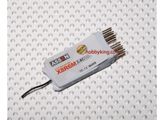 X8 R6M 6Ch Micro 2.4GHz Receiver (Short Antenna)