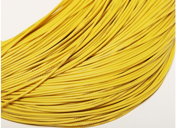 Turnigy Pure-Silicone Wire 24AWG 1m (Yellow)