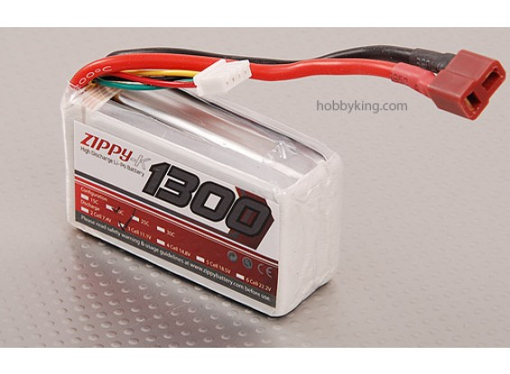 Zippy-K 1300 3S1P 20C Lipo pack