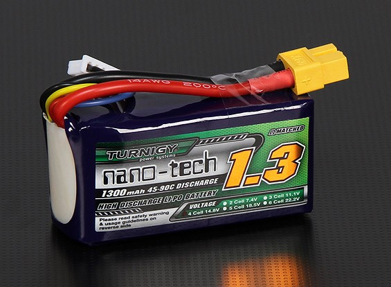 turnigy nano tech 1300mah 4s 45 90c lipo pack. Black Bedroom Furniture Sets. Home Design Ideas