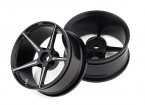DC Chequered Flag 1:10 5 Spoke 52mm Alloy Wheels Black/Silver (2pcs)