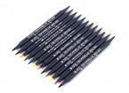 Dual Brush Tip Marker Pen Set (12 colors)