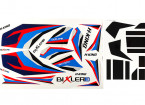 H-King Bixler 3 Glider 1550mm - Replacement Decal Set (Blue/Red)