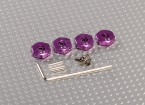 Purple Aluminum Wheel Adaptors with Lock Screws - 4mm (12mm Hex)