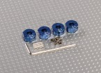 Blue Aluminum Wheel Adaptors with Lock Screws - 6mm (12mm Hex)