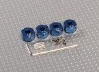 Blue Aluminum Wheel Adaptors with Lock Screws - 7mm (12mm Hex)