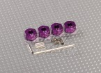 Purple Aluminum Wheel Adaptors with Lock Screws - 7mm (12mm Hex)