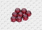 Red Anodised Aluminum M3 Nylock Nuts(8pcs)
