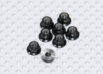 Black Anodised Aluminum M3 Nylock Wheel Nuts w/ Serrated Flange (8pcs)
