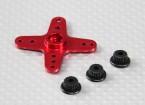 Aluminum Cross Universal Servo Arm - JR, Futaba & HITEC (Red)