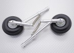 Alloy Oleo Strut Set with Wheels and Rubber Tires (104mm Length, 4mm Mounting Pin)