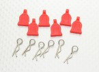 1/10 Car Body Clip With Rubber Tab (red)  6pc