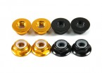 Aluminum Flange Low Profile Nyloc Nut M5 (4 Black CW & 4 Gold CCW)