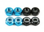 Aluminum Low Profile Nyloc Nut  M5 (4 Black CW & 4 Light Blue CCW)
