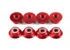 Aluminum Flange Low Profile Nyloc Nut M5 Red (CW) 8pcs