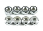 Aluminum Low Profile Nyloc Nut M5 Silver (CW) 8pcs