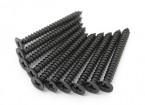 Screw Flat Head Phillips M4x40mm Self Tapping Steel Black (10pcs)