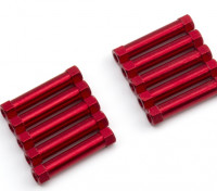 Lightweight Aluminium Round Section Spacer M3x25mm (Red) (10pcs)