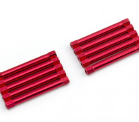 Lightweight Aluminium Round Section Spacer M3x45mm (Red) (10pcs)