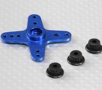 Aluminum Cross Universal Servo Arm - JR, Futaba & HITEC (Blue)