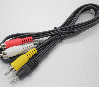 2.5mm to Male Stereo RCA A/V Plugs Adaptor Lead (1000mm)