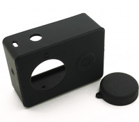 Silicone Protective Case and Lens Cap for Xiaoyi Action Camera (Black)