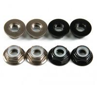 Aluminum Flange Low Profile Nyloc Nut  M5 (4 Black CW & 4 Titanium CCW)