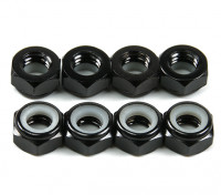 Aluminum Low Profile Nyloc Nut M5 Black (CW) 8pcs