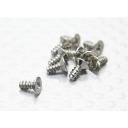 Flat Head Cross Screw (TPF2.6x6mm)(White) (10pcs) - 1/16 Turnigy 4WD Nitro Racing Buggy and A3011