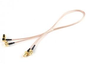 RP-SMA Plug w/90 Degree Adapter < - > RP-SMA Jack 500mm RG316 Extension (2pcs/set)