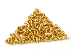 DC Chequered Flag 1:10 Scale Cross-Head 4mm Screws - 24k Gold Plated (50pcs)