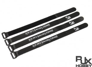 RJX Ultra-Grip Silicone Velcro Battery Straps Black (300X20mmx4pcs)