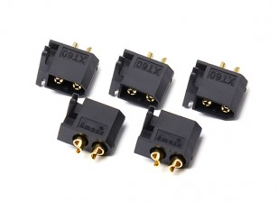 Male XT60 Connectors with Mounting Bracket (Black)