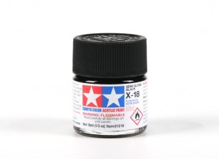 Tamiya X-18 Gloss Black Acrylic Paint (10ml)