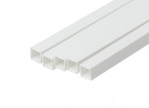 ABS Square Tube 6.0mm x 6.0mm x 500mm White (Qty 5)