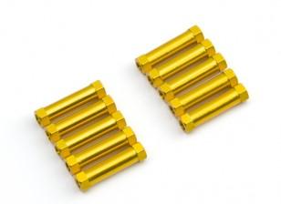 Lightweight Aluminium Round Section Spacer M3x20mm (Gold) (10pcs)