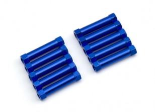 Lightweight Aluminium Round Section Spacer M3x24mm (Blue) (10pcs)