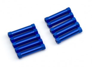 Lightweight Aluminium Round Section Spacer M3x25mm (Blue) (10pcs)