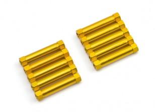 Lightweight Aluminium Round Section Spacer M3x26mm (Gold) (10pcs)